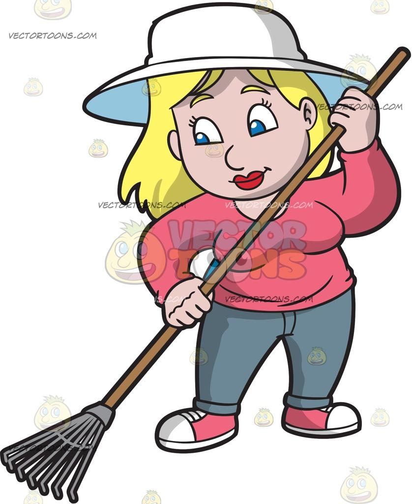 medium resolution of 838x1024 a woman using a leaf rake cartoon clipart