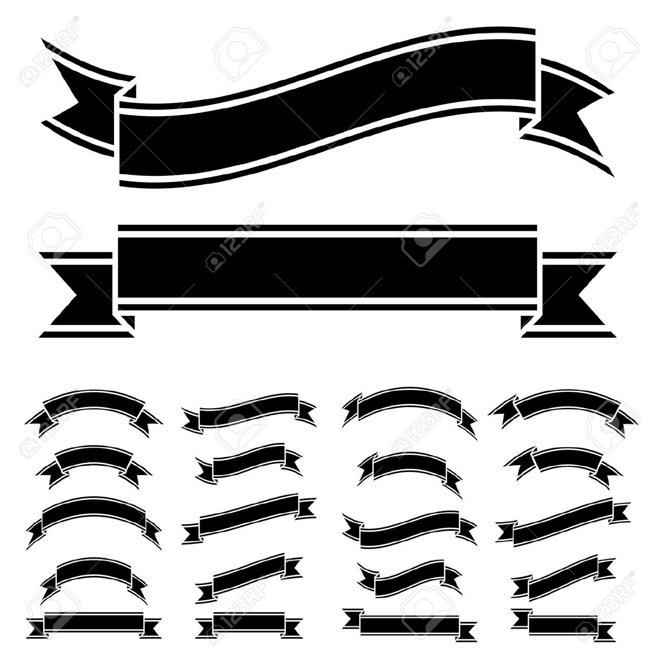 Ribbon Clipart Black And White