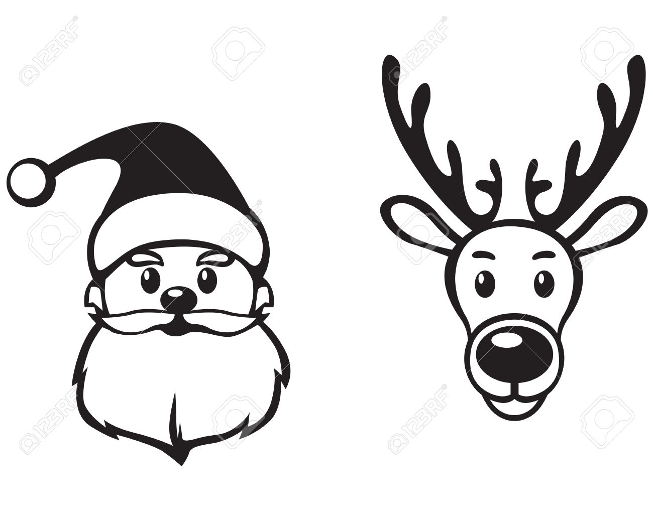 Rudolph Outline Cliparts