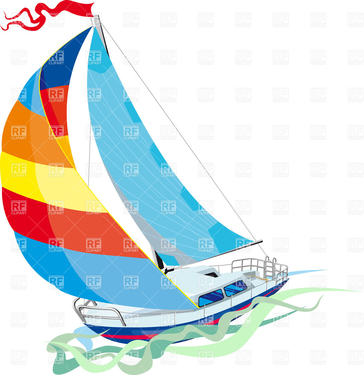 hight resolution of 1167x1200 yacht sailing on waves royalty free vector clip art image