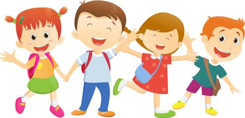 cartoon go children going vector backpack boy clipartmag