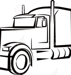 1300x833 semi truck outline drawing simple illustration with a truck [ 1300 x 833 Pixel ]