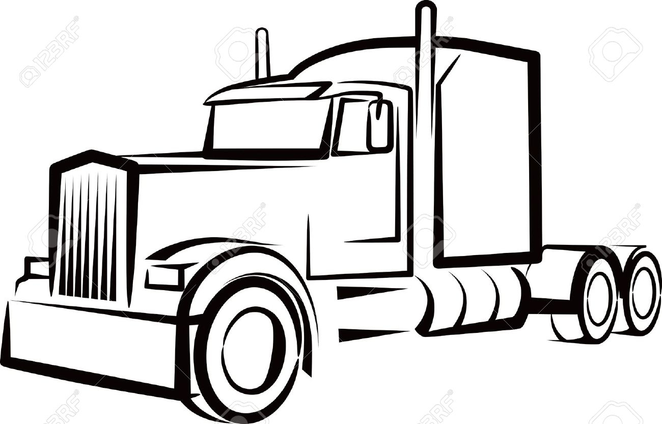 hight resolution of 1300x833 semi truck outline drawing simple illustration with a truck