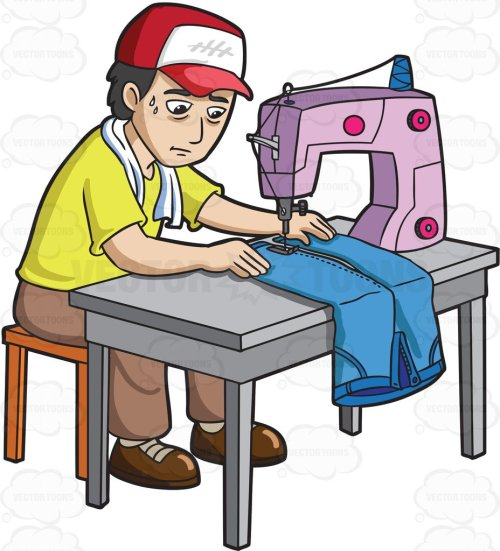 small resolution of 928x1024 a factory worker sewing a pair of jeans cartoon clipart