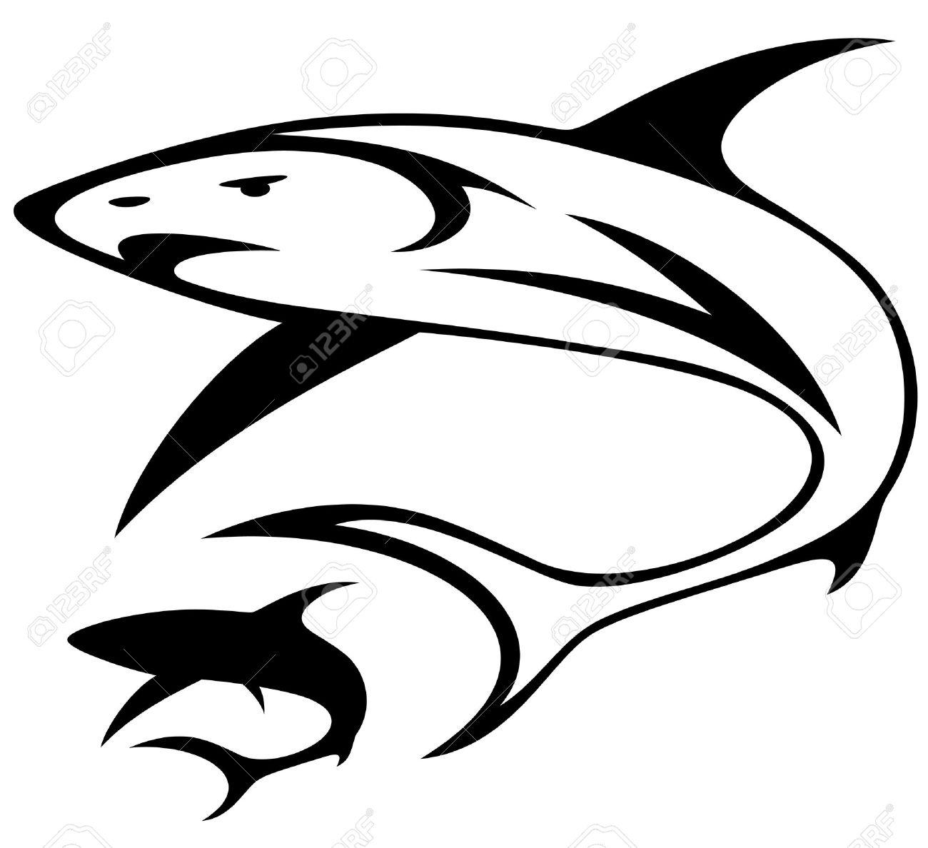 Shark Black And White Clipart