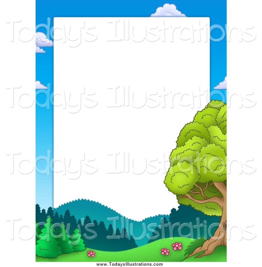 medium resolution of 1024x1044 clipart of a border of sky mountains and trees around white space