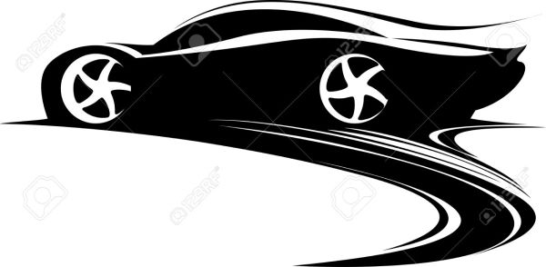 sports car clipart black and white
