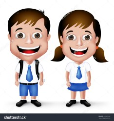 uniform clipart student boy vector cute happy boys 3d realistic shutterstock drawing characters backpack smile illustration clipartmag drawings music teenage