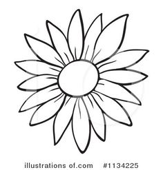 sunflower black and white clipart