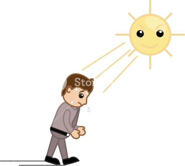 Hot Summer Sweating Cartoon