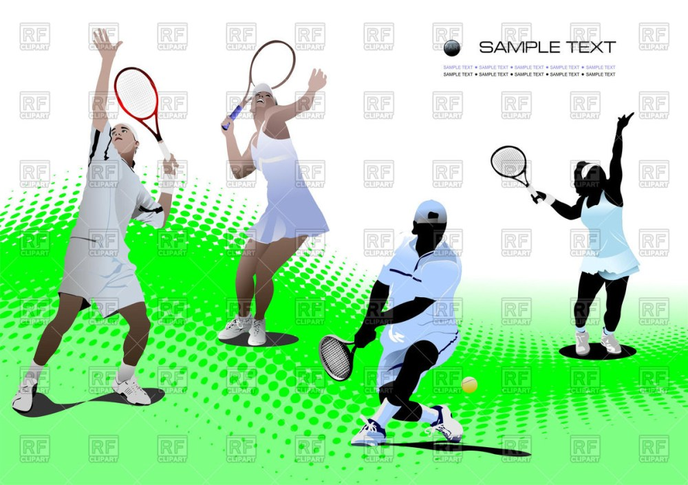 medium resolution of 1200x847 tennis players on tennis court royalty free vector clip art image