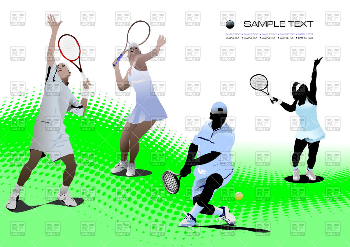 hight resolution of 1200x847 tennis players on tennis court royalty free vector clip art image