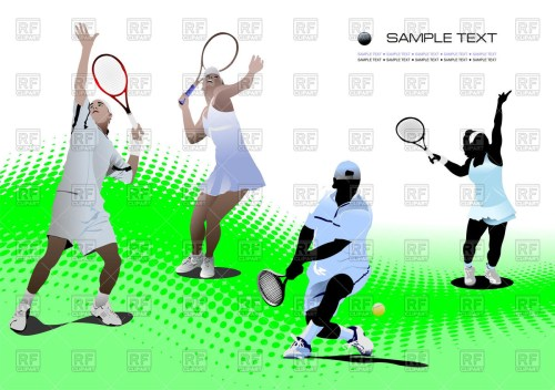 small resolution of 1200x847 tennis players on tennis court royalty free vector clip art image