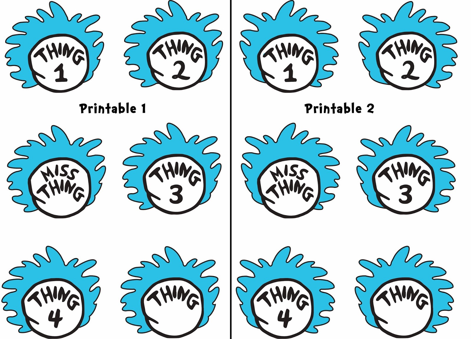 Thing 1 And Thing 2 Printable