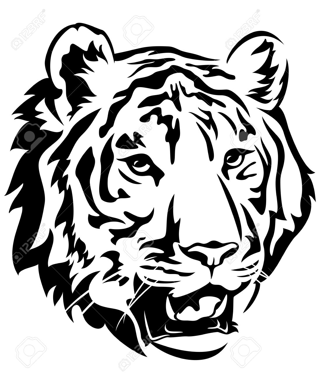 Tiger Clipart Black And White Free