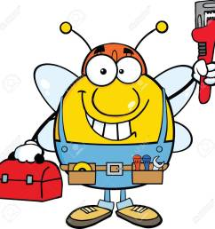 1300x1299 pudgy bee plumber with wrench and tool box royalty free cliparts [ 1300 x 1299 Pixel ]