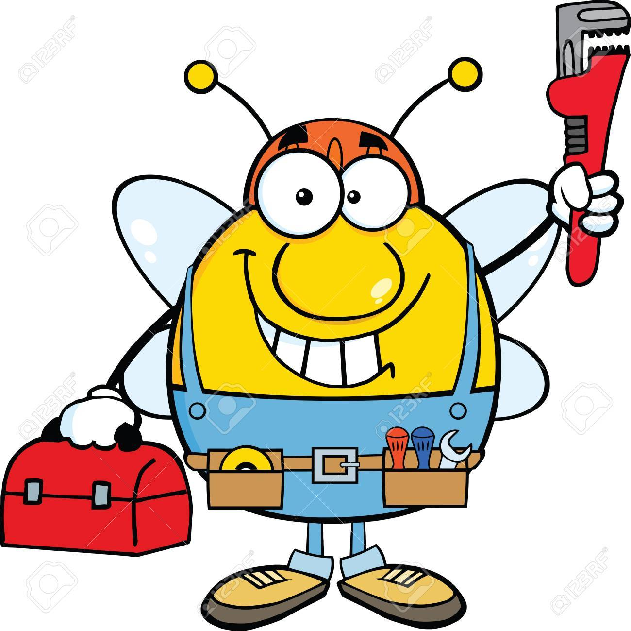 hight resolution of 1300x1299 pudgy bee plumber with wrench and tool box royalty free cliparts