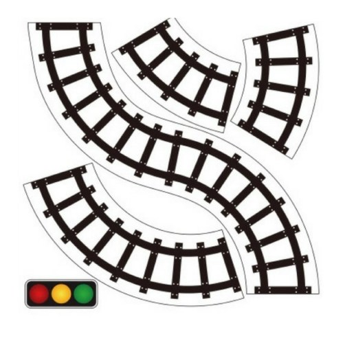small resolution of 600x600 horizontal train tracks clipart 1080x1080 pretend play road train tape sticker for toddler activities