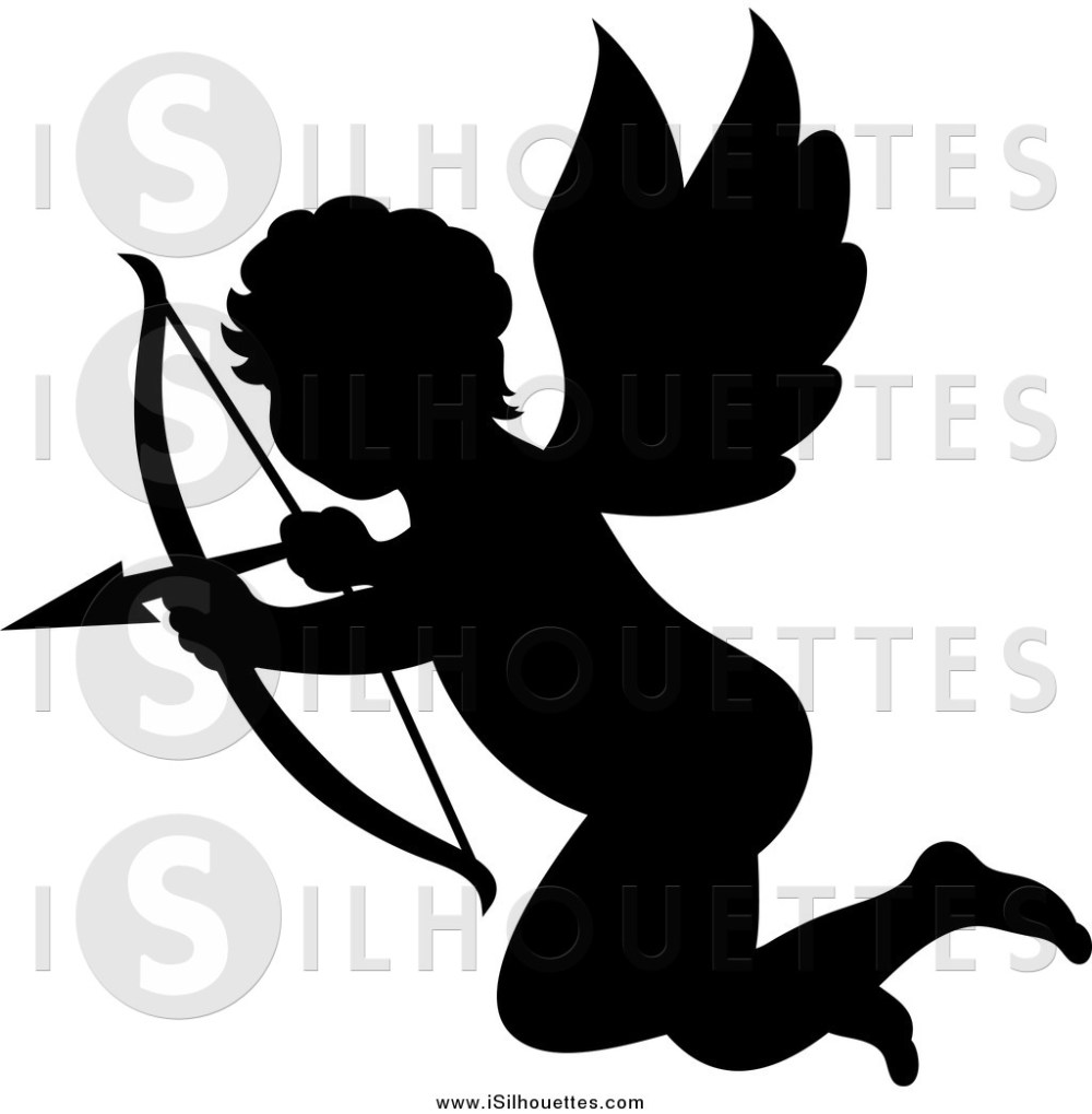 medium resolution of 1024x1044 clipart of a silhouetted black cupid aiming his arrow by vector