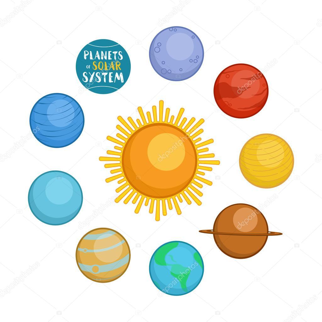 hight resolution of 1024x1024 planets of solar system cartoon style vector illustration stock