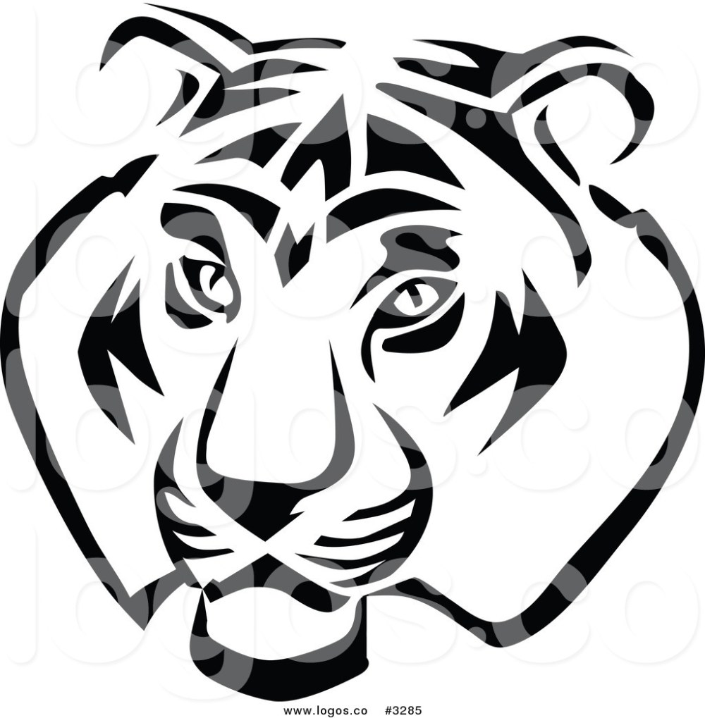 medium resolution of 1024x1044 royalty free vector of a black and white tiger head logo by vector