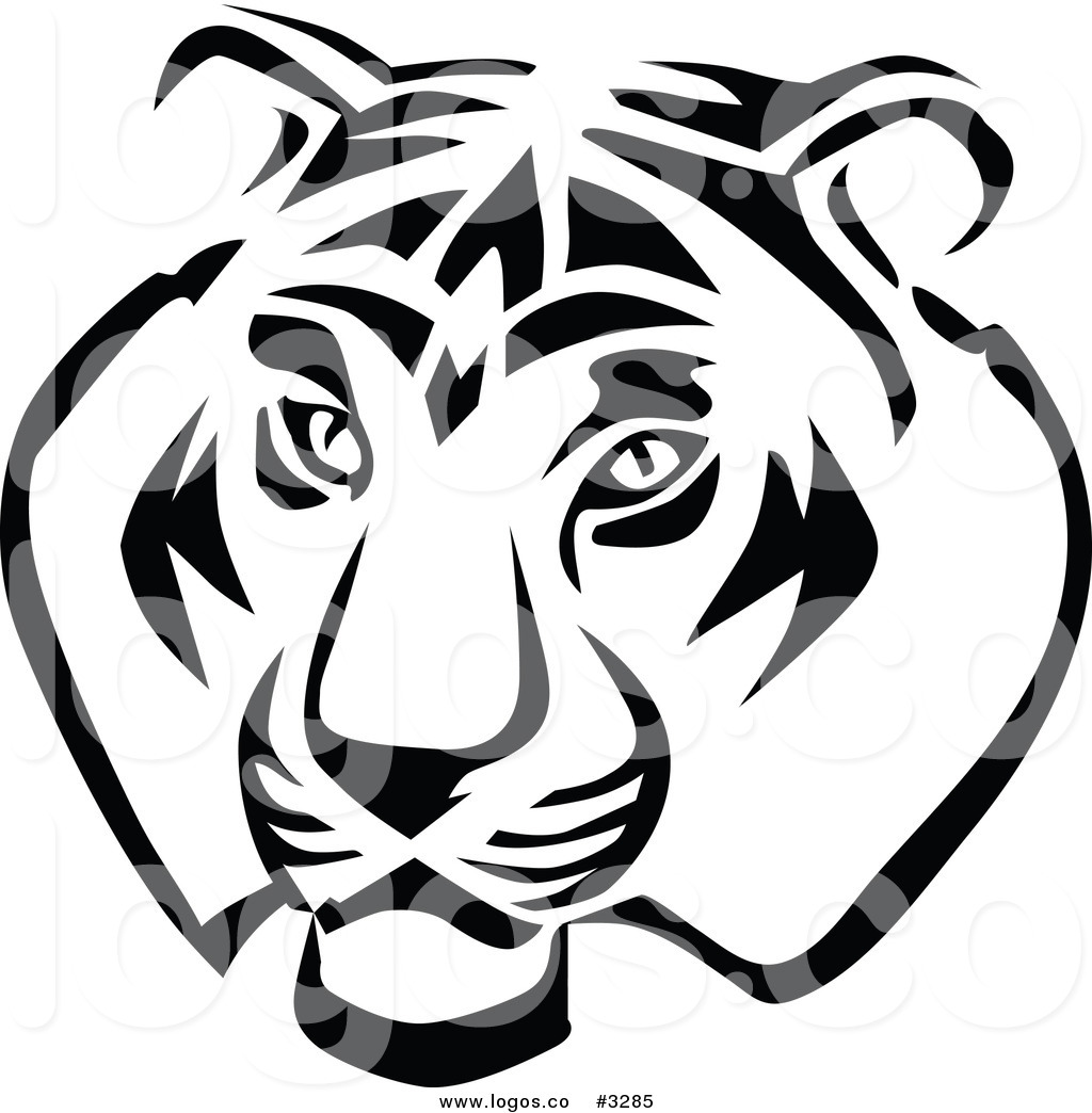 hight resolution of 1024x1044 royalty free vector of a black and white tiger head logo by vector