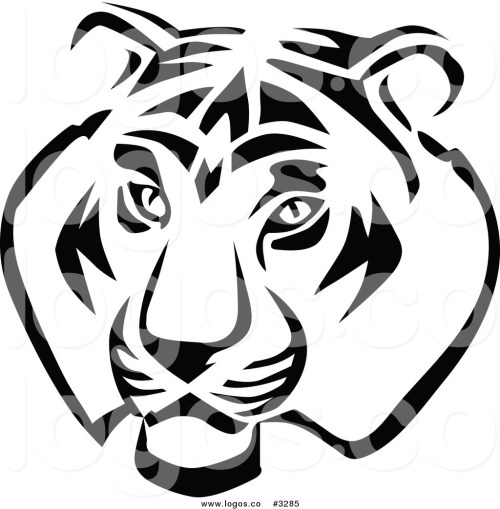 small resolution of 1024x1044 royalty free vector of a black and white tiger head logo by vector
