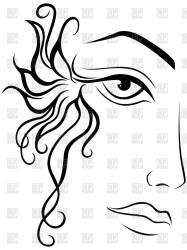 face vector abstract female outline woman part clipart drawing hand partie femminile fronte parte gezicht femelle artwork floral vrouwelijke deel