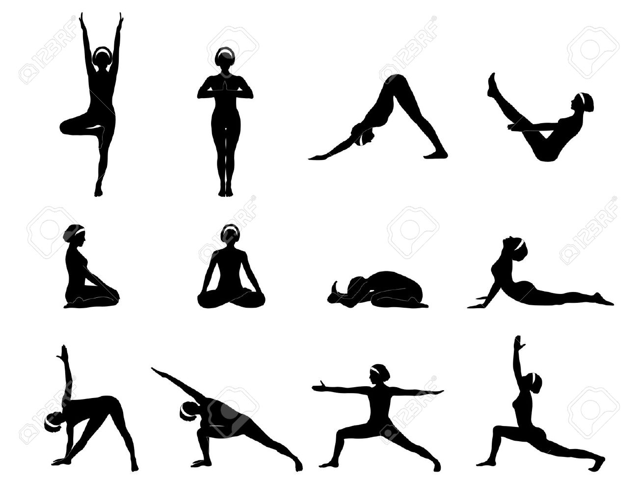 Yoga Clipart Black And White