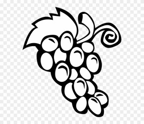 Black Simple Food Fruit Wine Grapes Outline Fruits Pics For Colouring Free Transparent PNG Clipart Images Download