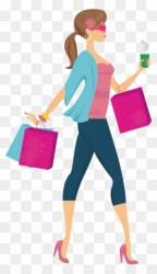 Lady Shopping Cartoon