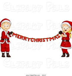 pal clipart of a blond white christmas boy and girl holding a merry christmas banner [ 1024 x 1044 Pixel ]