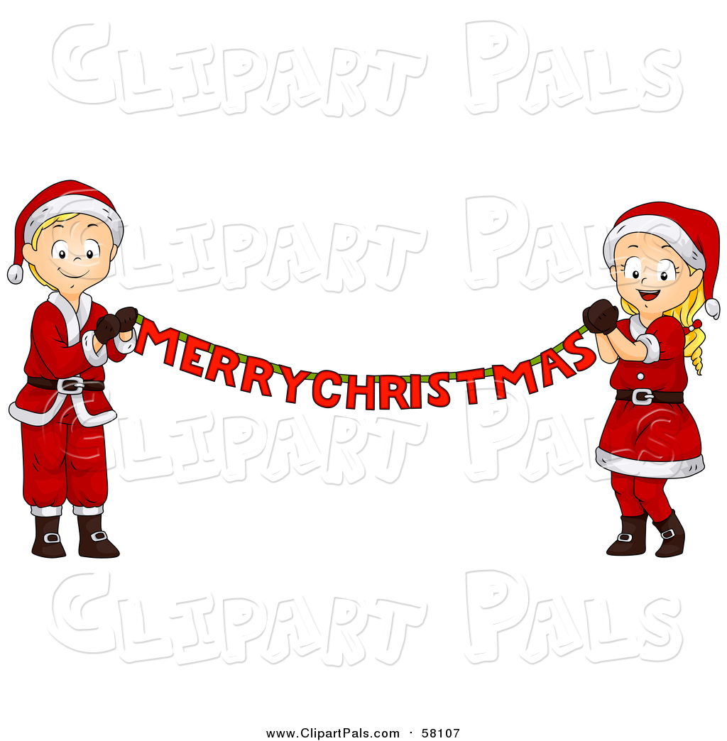 hight resolution of pal clipart of a blond white christmas boy and girl holding a merry christmas banner