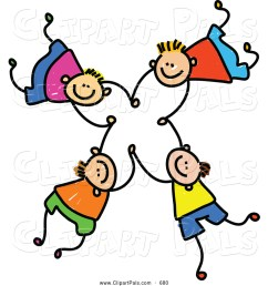 pal clipart of a childs sketch of four happy boys falling and holding hands [ 1024 x 1044 Pixel ]
