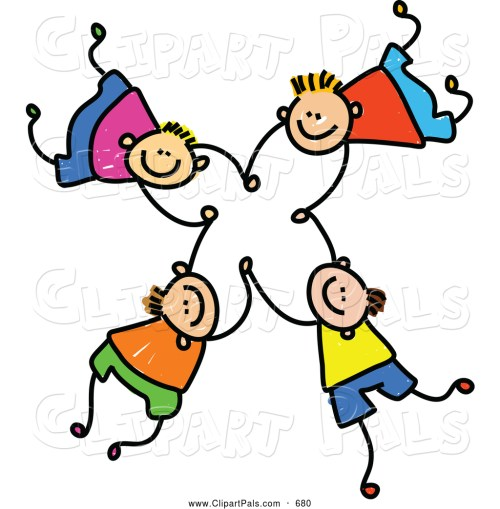 small resolution of pal clipart of a childs sketch of four happy boys falling and holding hands