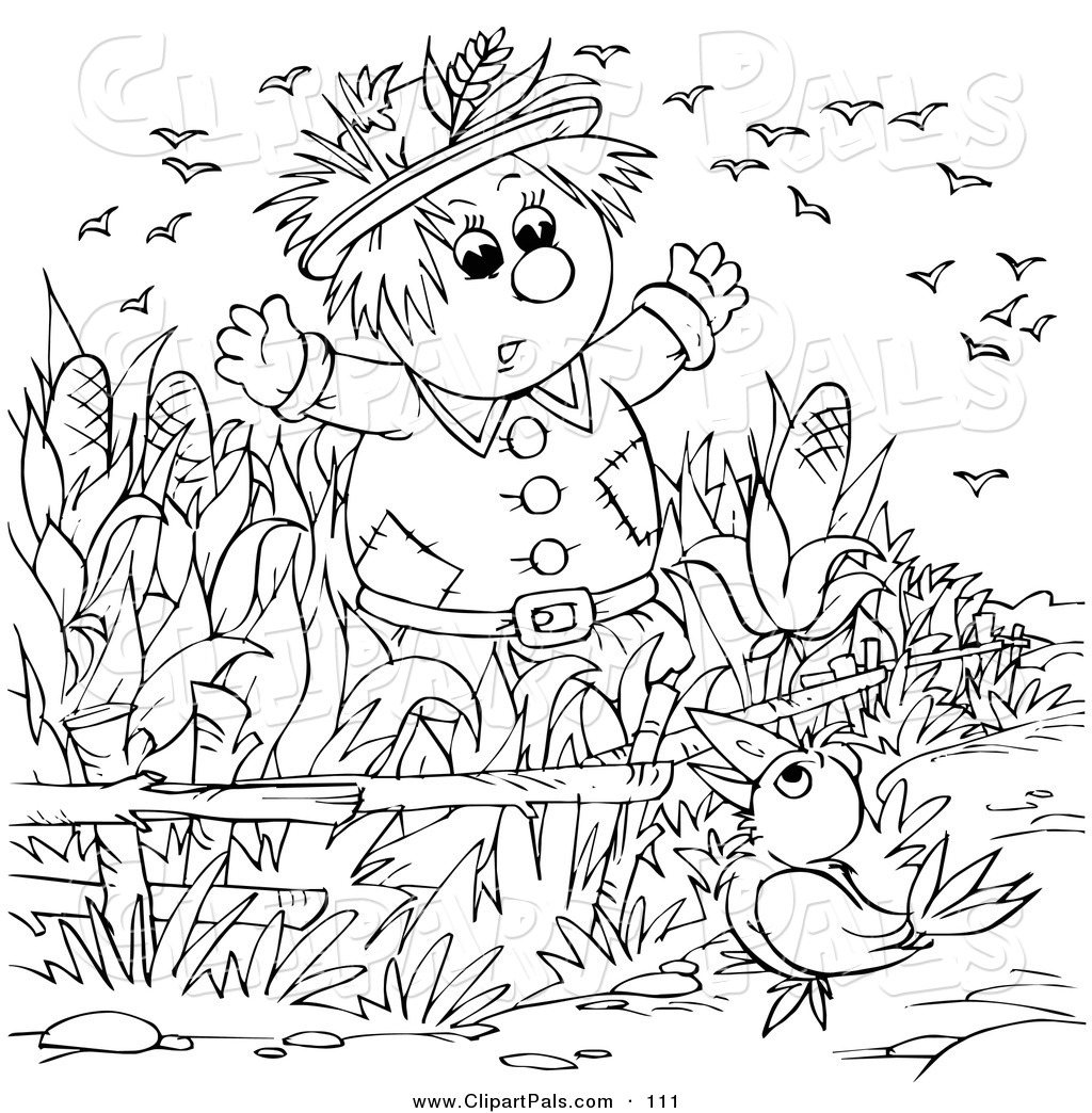 Pal Clipart Of A Coloring Page Outline Design Of A Crow Talking To A Scarecrow By Alex Bannykh