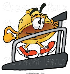 pal clipart of a hard hat character walking on a treadmill in a fitness gym [ 1024 x 1044 Pixel ]