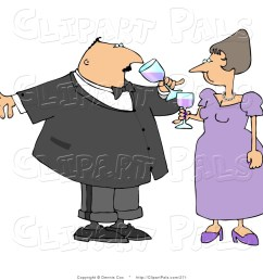 pal clipart of a husband and wife toasting wine at a party [ 1024 x 1044 Pixel ]