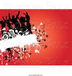 pal clipart of a silhouetted dancers on a floral grunge box over red [ 1024 x 1044 Pixel ]