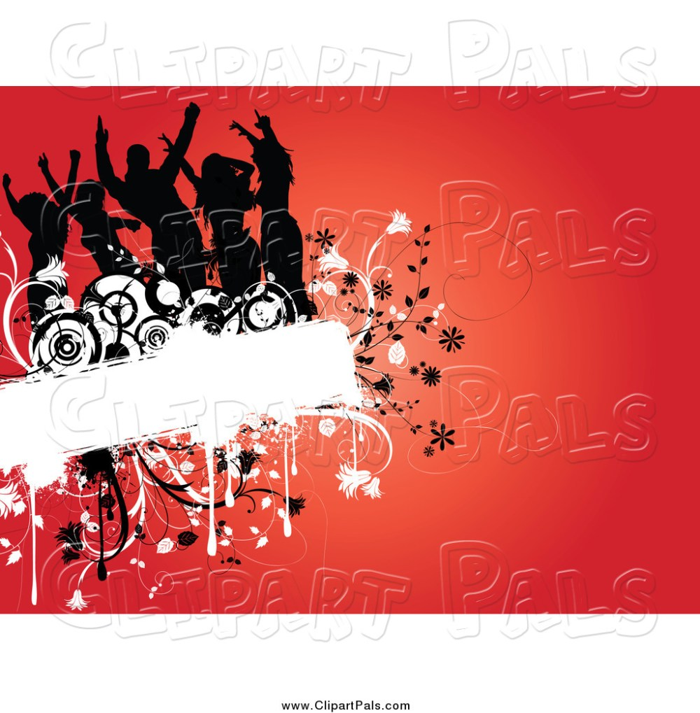 medium resolution of pal clipart of a silhouetted dancers on a floral grunge box over red