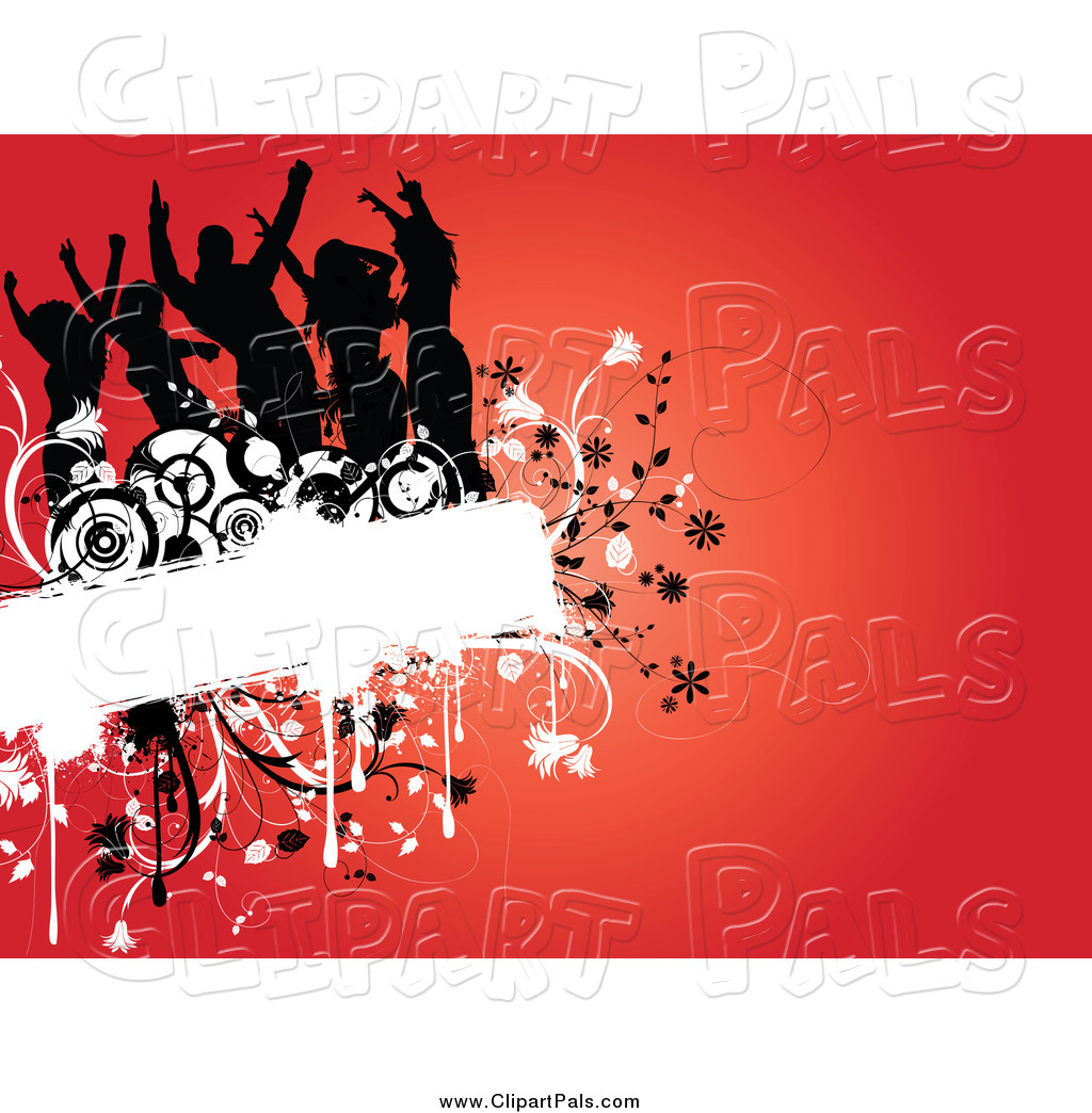 hight resolution of pal clipart of a silhouetted dancers on a floral grunge box over red