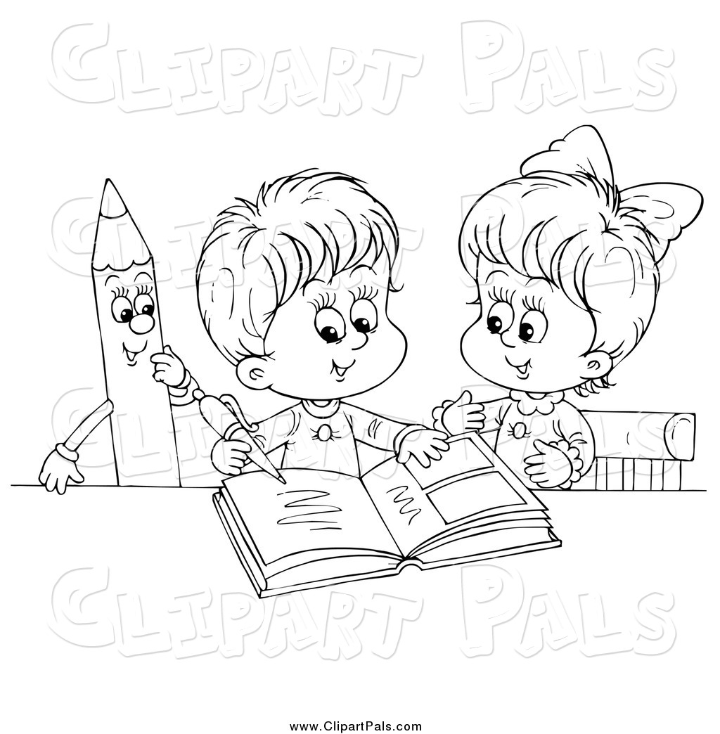 Pal Clipart of Black and White Children Writing in a Photo
