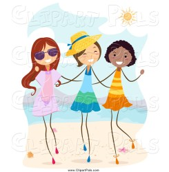 Pal Clipart of Cheerful Stick Girls Walking on a Beach by BNP Design Studio #511