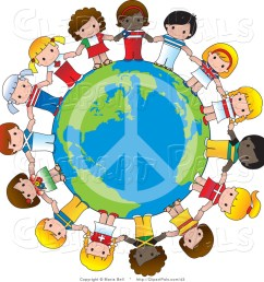 pal vector clipart of a peace sign on planet earth circled by cute international girls holding [ 1024 x 1044 Pixel ]