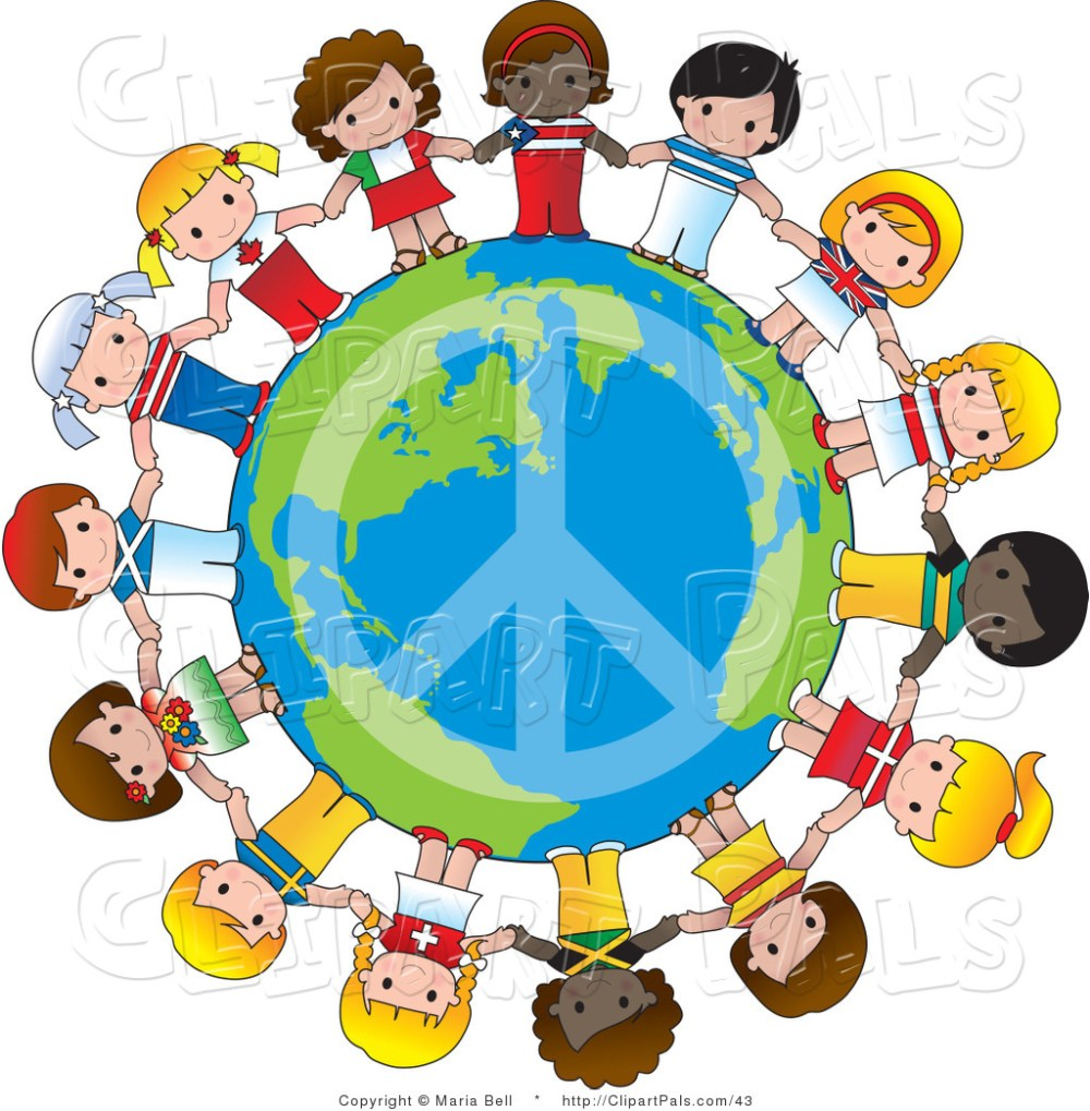 medium resolution of pal vector clipart of a peace sign on planet earth circled by cute international girls holding
