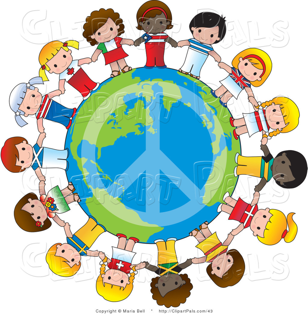 hight resolution of pal vector clipart of a peace sign on planet earth circled by cute international girls holding