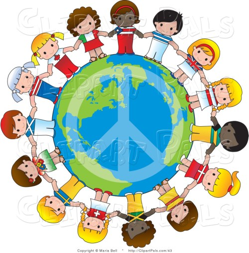 small resolution of pal vector clipart of a peace sign on planet earth circled by cute international girls holding