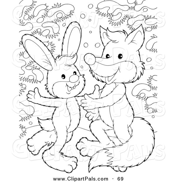 Pal Clipart of a Coloring Page Outline Design of a Rabbit
