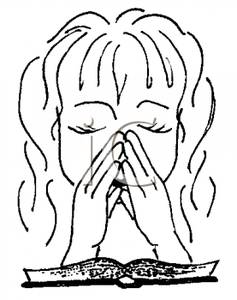 Black and White Girl Praying Clipart Image