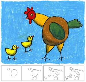 drawing easy draw simple chicks hen projects drawings lessons mother cliparts lesson colorful artprojectsforkids chicken cool kid teaching rodeo dessin